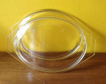 TWO Vintage Pyrex 043 Replacement Lids Oval Casserole