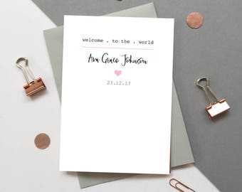 New Baby girl card - Personalised new baby girl card - Personalized baby girl card - Custom baby card - Welcome to the world name card