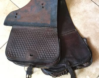 1830-1880 Leather Saddlebags, Saddle Bags, Embossed, Well worn