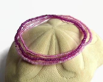 Pink beaded bracelet, minimalist bohemian bracelet, everyday bracelet, baby shower bracelet