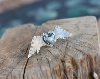 Sterling Silver Oxidized TurquoiseHeart Shaped Stone Wings Design Statement Ring Size EU51/ 5,75USA