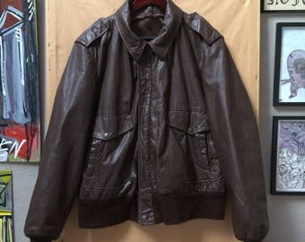 Vintage A2 Bomber Style Brown Leather Jacket IDEAL Zippers Moto