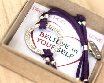 Believe in yourself Bracelet, Believe Bracelet,   Dream  Hope Trust  Love Bracelet, Inspirational Jewelry, Ring Bracelet, Believe Charm