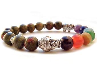 Buddha 7 Chakra bracelet, Elephant 7 Chakra bracelet, Unakite bracelet, Buddha bracelet, Good Luck Elephant charm, Yoga meditation bracelet