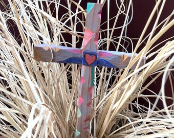 "Rustic Hand Carved Wood Cross 4"" x 7"""