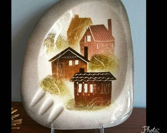 Sascha Brastoff village landscape organic shape ashtray