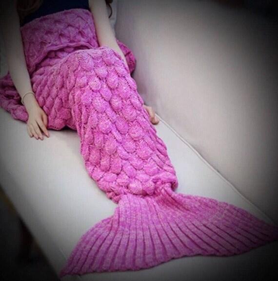 Soft crochet knit mermaid blanket throw  adult or teen in pink
