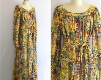 70s Chinoserie Maxi Dress/ 1970s Yellow Printed Dress/ Womens Size Large to XL