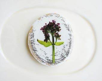 Real Flower Magnet, Magnet Art, Flower Art, Purple Flower Magnet, Refrigerator Magnet, Minimalist Magnet, Wood Magnet, Floral Gardener Gift