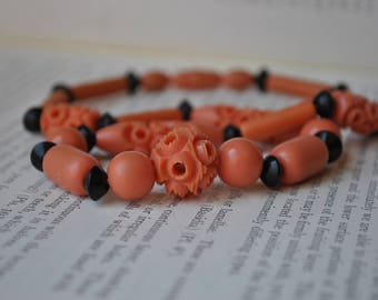 Vintage Coral Celluloid Necklace - 1930s Faux Coral Carved Celluloid Necklace