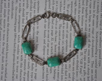 Vintage Sterling Bracelet - 1920s Art Deco Sterling, Glass Bracelet