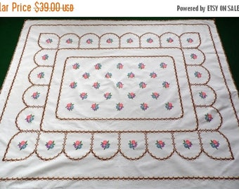 25% SUMMER SALE big Vintage white cotton tablecloth with floral hand embroidery embroidered table cloth crochet edging 50s
