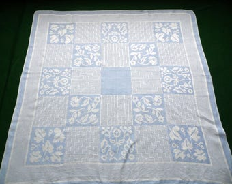 Vintage blue linen DAMASK tablecloth ; square table cloth with flowers and leaves