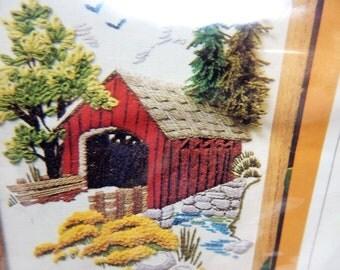 "Vintage Crewel Kit ""Stoney Creek Bridge"" by Creative Circle from 1979 8 x 10  Open Clean Vintage"