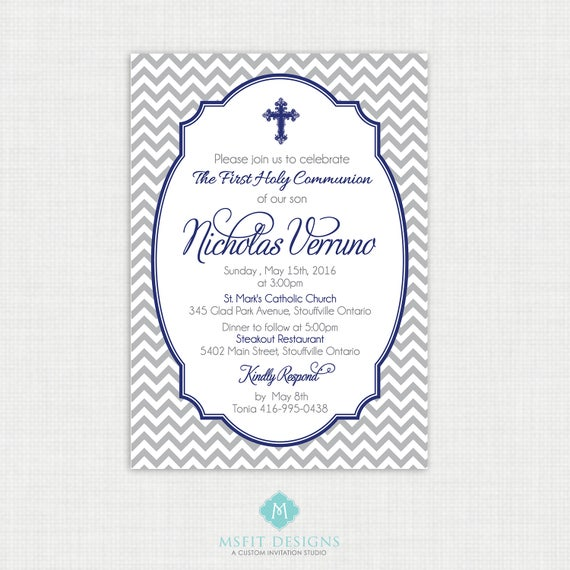Printable Baptism Invitation- Boys Baptism Invitation - Chevron Baby Invitations - Dedication, First Communion, Confirmation, Christening