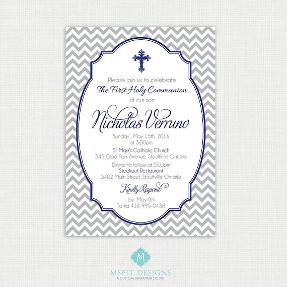 Printable Baptism Invitation- Boys Baptism Invitation - Chevron Baby Invitations - Dedication, First Communion, Confirmation, Christening