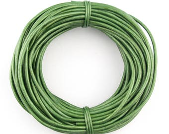 Green Metallic Round Leather Cord 2mm 100 meters (109 yards)