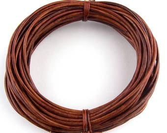 Brown Distressed Red Round Leather Cord 1mm, 100 meters (109 yards)