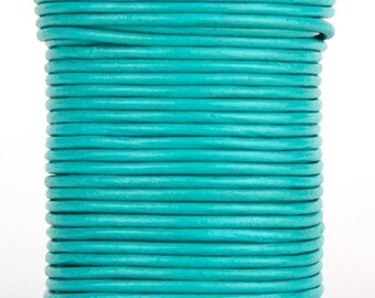 Turquoise Round Leather Cord 2mm, 10 meters (11 yards)
