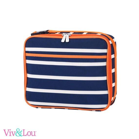 striped blue orange lunch box boys lunch bag monogrammed lunch bag personalized lunch bag kids lunch box back to school personalized lunch