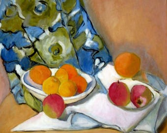 apple oil painting, fruit still life, fruit oil painting, fruit on canvas, original artwork, study after Cezanne, fabric cloth, blue decor