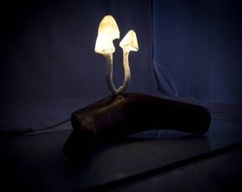 Driftwood Mushroom Light Handmade Glowing Mushroom Sculptures On Wooden Base Static Warm White Lights
