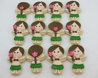 Hawaiian Hula Girl Decorated Sugar Cookies - Luau Birthday Party Favors, Grass Skirt Cookies, Tropical Island Theme Custom Cookies