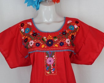Frida Style Colorful Mexican Dress with Embroidered Flowers- Red-Summer-BOHO-Hippie-Frida Kahlo style- Handmade Dress- Kaftan-Floral