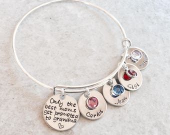 Only the best moms get promoted to grandma bracelet personalized gift for grandma with children's name and birthstones Nana Grammy nannie