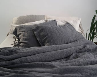 LINEN DUVET COVER set of duvet cover and pillowcases with ties. Grey French linen bedding set. Made by MOOshop.*21