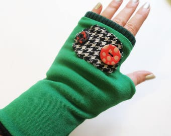 lined in green jersey mittens