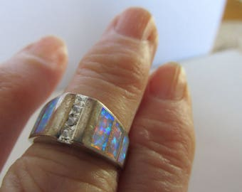 Vintage Ring, Sterling Silver Ring, Six Rectangular Faux Opals, Hallmarked 925, Blue and Pink Fires, Estate Silver Ring, Collectible Jewelry