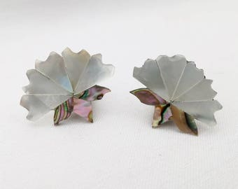 Vintage Earrings, Lotus Flower, Art Nouveau, Wedding Accessories, Mother of Pearl, Abalone, Iridescent Petals & Leaves Made in Mexico, 1980s