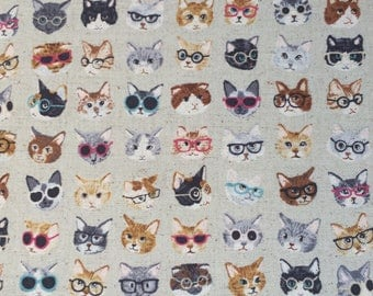 Clever Cats with Glasses - Japanese Cotton Linen Fabric - Lightweight Canvas - Kids Quilting Fabric - Kokka - HALF YD