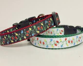 """3/4"""" Christmas Lights Dog Collar - Holiday - Gift - Pet Gift - Dog Gift - Seasonal"""