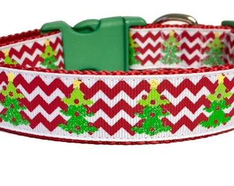 Christmas Tree Glitter Chevron Dog Collar