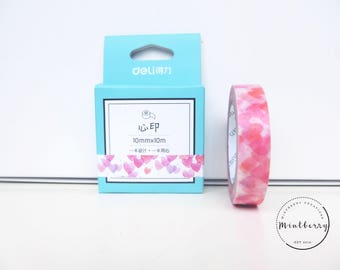 Washi Tape Hearts Pink Print 10mm*10m