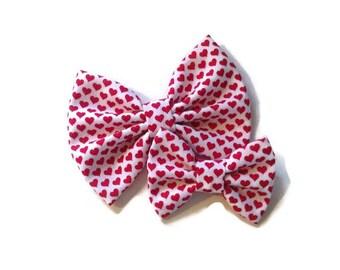 Red Heart Valentine's Bow | Fabric Bow | Handmade Hair Bow | Hair Clip | Headband
