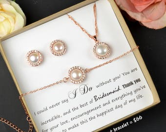Rose Gold Pearl Necklace ,Rose Gold Necklace , Single Pearl Necklace ,Bridesmaid Gift , Bridesmaid Necklace , Real Freshwater