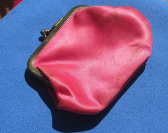 Vintage Pink Silky Coin Purse Stains TLC