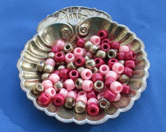 Lot Of Salvaged Pink Mauve Gold Colored Pony Beads Flaking TLC