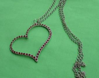 Retro Large Red Rhinestone Heart Pendant Necklace