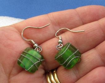 Retro Green Glass  Wire Wrapped Dangling Pierced Earrings TLC