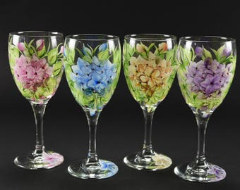 Set of  Four Hand Painted Wine Glasses / Colorful Hydrangeas
