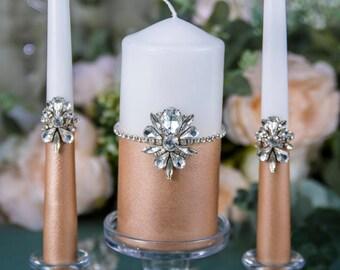 Rose Gold Wedding Unity Candle Set, Silver Wedding Candle, Personalized Candle, Bling Wedding Unity Set, Crystal Unity Ceremony Candles Set