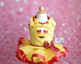 Emoji Love Tutu Dress/Emoji Costume/Emoji Dress/Pageant Wear/Halloween Costume/Halloween Tutu/Halloween Tutu Dress/Emoji Costume Dress