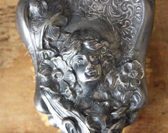 Vintage EMPIRE ART SILVER Art Nouveau Hairbrush Face Flowers Bone Boar Bristle
