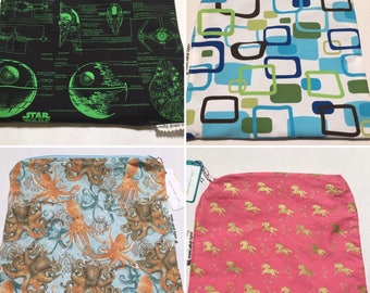 Large Waterproof Zipper Pouch Wet Bag - many prints available!