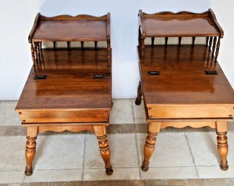 Vintage Set Ethan Allen Maple Colonial style End Tables Dough box storage 96750 Nationwide shipping available please call for best rates