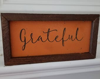 4x8 Sign/Plaque - Grateful - Autumn - Fall